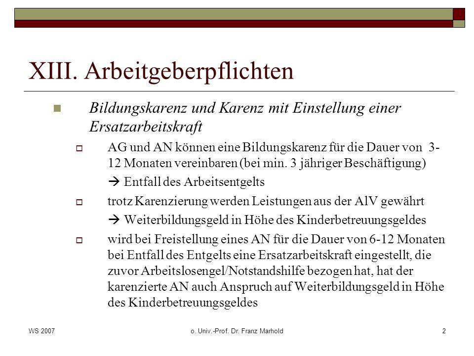 WS 2007o. Univ.-Prof. Dr. Franz Marhold2 XIII. Arbeitgeberpflichten Bildungskarenz und Karenz mit Einstellung einer Ersatzarbeitskraft AG und AN könne