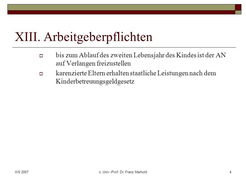 WS 2007o. Univ.-Prof. Dr. Franz Marhold4 XIII. Arbeitgeberpflichten bis zum Ablauf des zweiten Lebensjahr des Kindes ist der AN auf Verlangen freizust