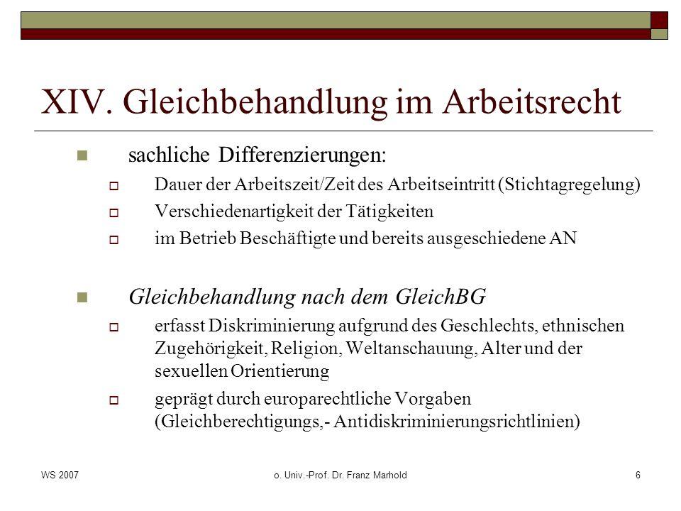 WS 2007o. Univ.-Prof. Dr. Franz Marhold6 XIV. Gleichbehandlung im Arbeitsrecht sachliche Differenzierungen: Dauer der Arbeitszeit/Zeit des Arbeitseint
