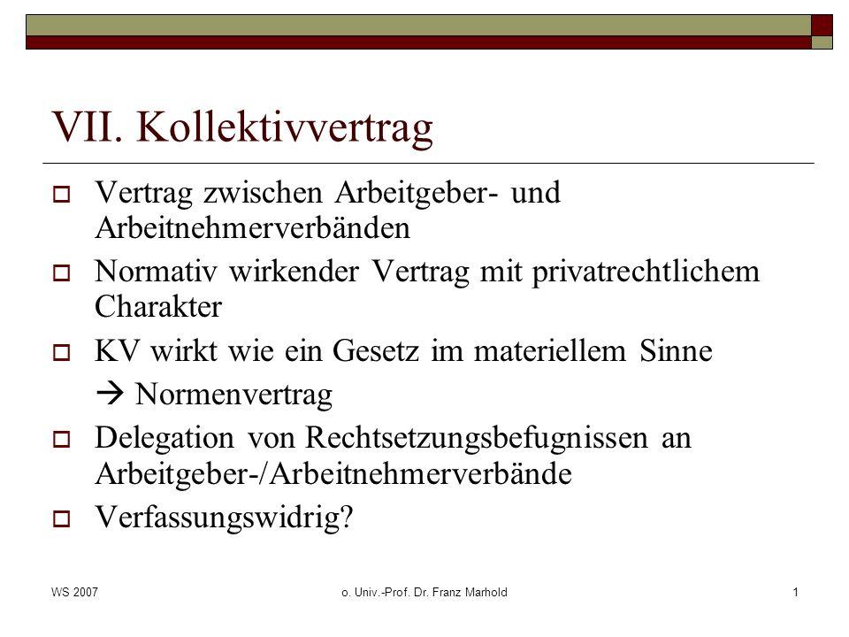 WS 2007o.Univ.-Prof. Dr. Franz Marhold2 VII.