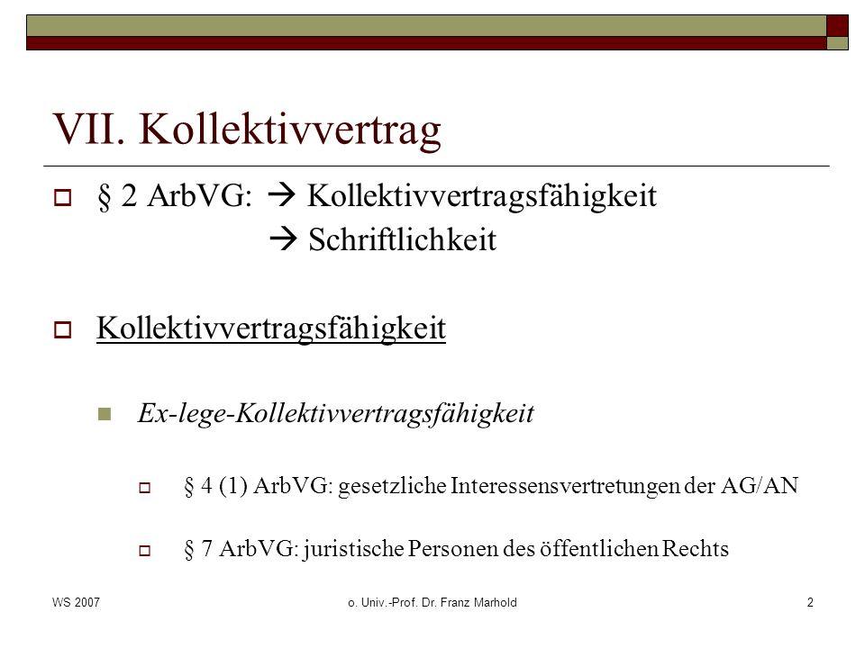 WS 2007o.Univ.-Prof. Dr. Franz Marhold3 VII.
