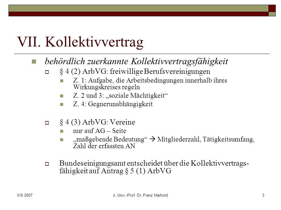 WS 2007o.Univ.-Prof. Dr. Franz Marhold4 VII.