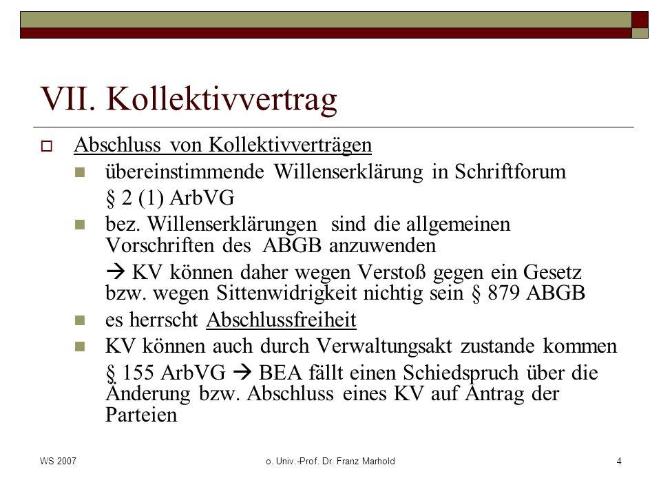 WS 2007o.Univ.-Prof. Dr. Franz Marhold5 VII.