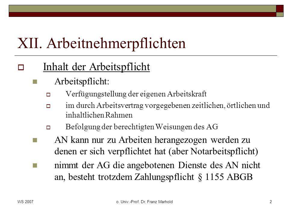 WS 2007o. Univ.-Prof. Dr. Franz Marhold2 XII. Arbeitnehmerpflichten Inhalt der Arbeitspflicht Arbeitspflicht: Verfügungstellung der eigenen Arbeitskra