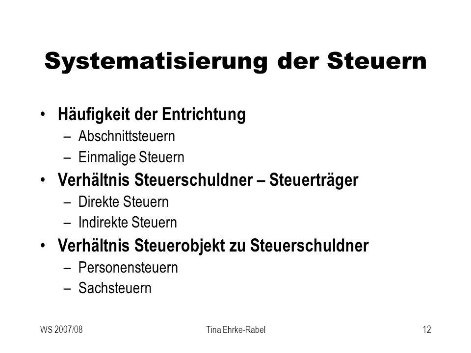 WS 2007/08Tina Ehrke-Rabel12 Systematisierung der Steuern Häufigkeit der Entrichtung –Abschnittsteuern –Einmalige Steuern Verhältnis Steuerschuldner –