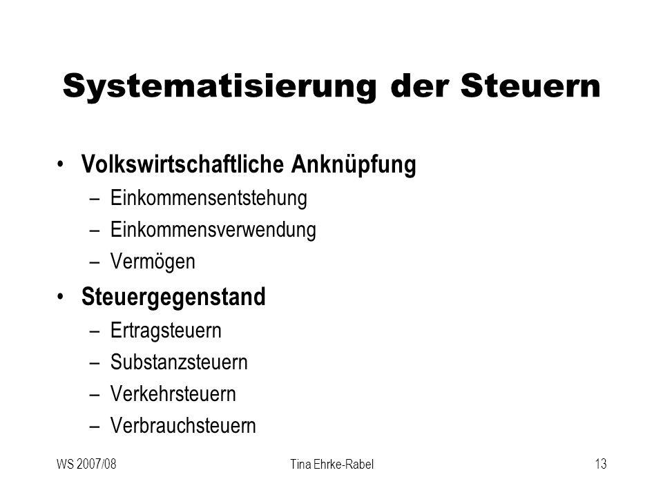 WS 2007/08Tina Ehrke-Rabel13 Systematisierung der Steuern Volkswirtschaftliche Anknüpfung –Einkommensentstehung –Einkommensverwendung –Vermögen Steuer