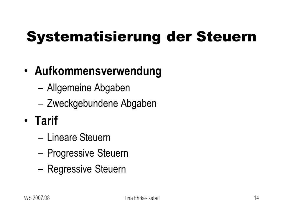 WS 2007/08Tina Ehrke-Rabel14 Systematisierung der Steuern Aufkommensverwendung –Allgemeine Abgaben –Zweckgebundene Abgaben Tarif –Lineare Steuern –Pro