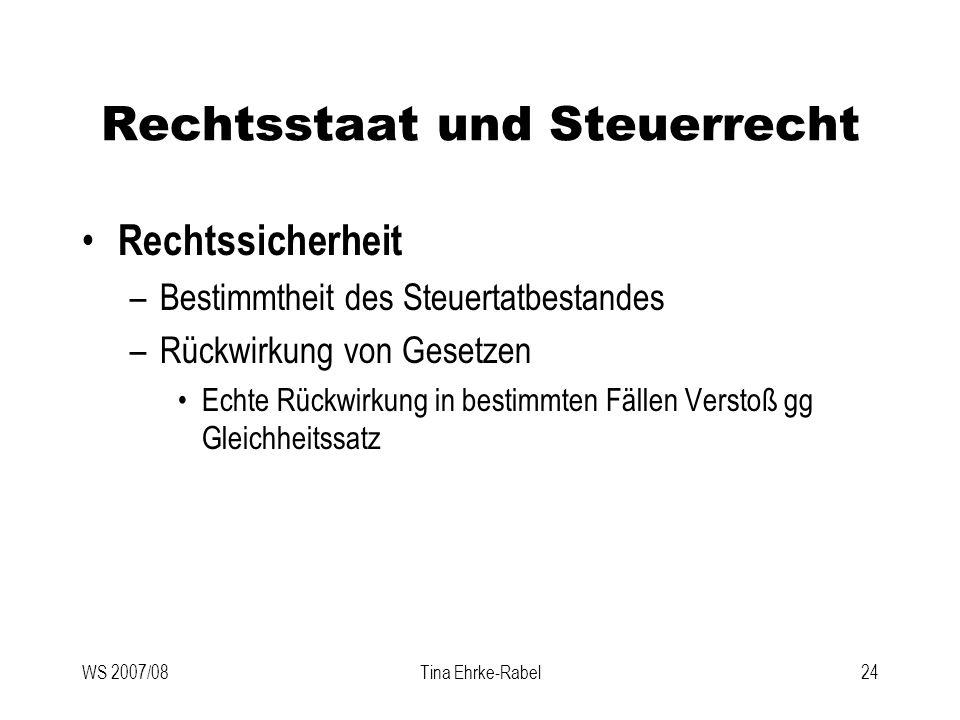 WS 2007/08Tina Ehrke-Rabel24 Rechtsstaat und Steuerrecht Rechtssicherheit –Bestimmtheit des Steuertatbestandes –Rückwirkung von Gesetzen Echte Rückwir