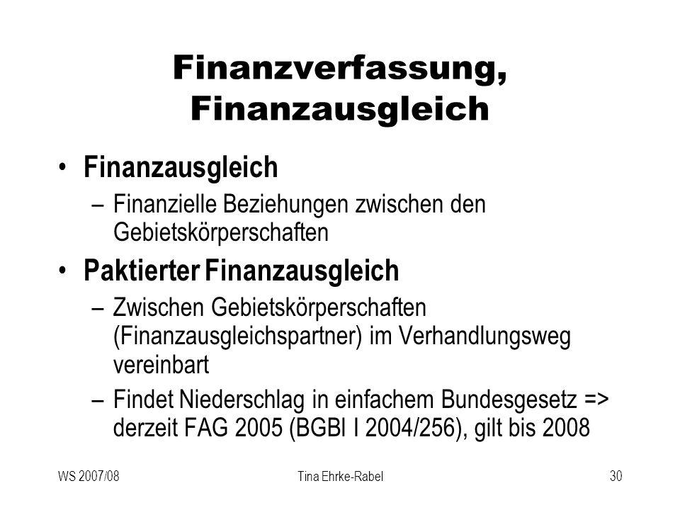 WS 2007/08Tina Ehrke-Rabel30 Finanzverfassung, Finanzausgleich Finanzausgleich –Finanzielle Beziehungen zwischen den Gebietskörperschaften Paktierter