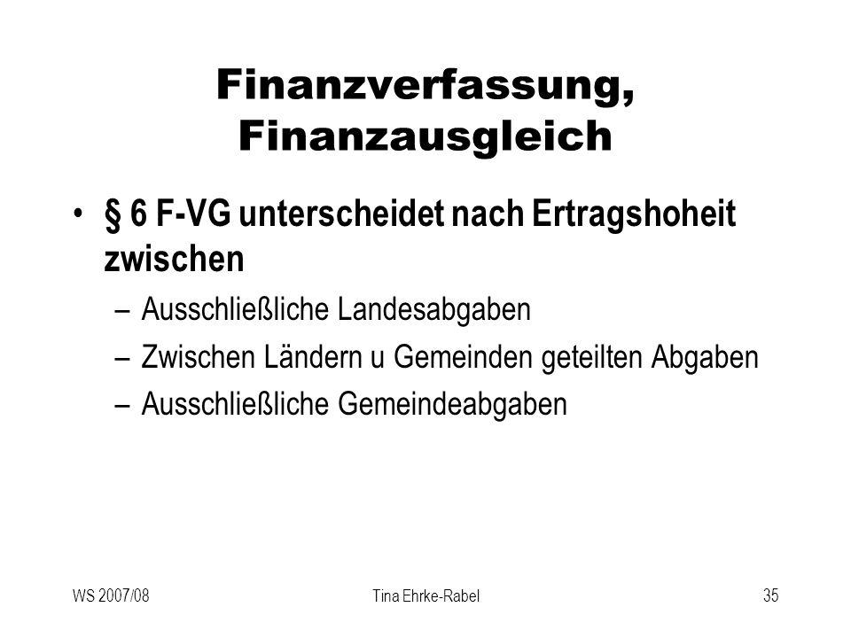 WS 2007/08Tina Ehrke-Rabel35 Finanzverfassung, Finanzausgleich § 6 F-VG unterscheidet nach Ertragshoheit zwischen –Ausschließliche Landesabgaben –Zwis