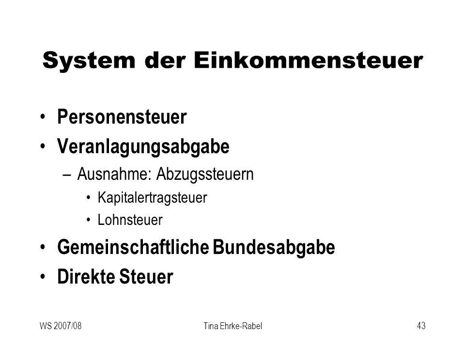WS 2007/08Tina Ehrke-Rabel43 System der Einkommensteuer Personensteuer Veranlagungsabgabe –Ausnahme: Abzugssteuern Kapitalertragsteuer Lohnsteuer Geme