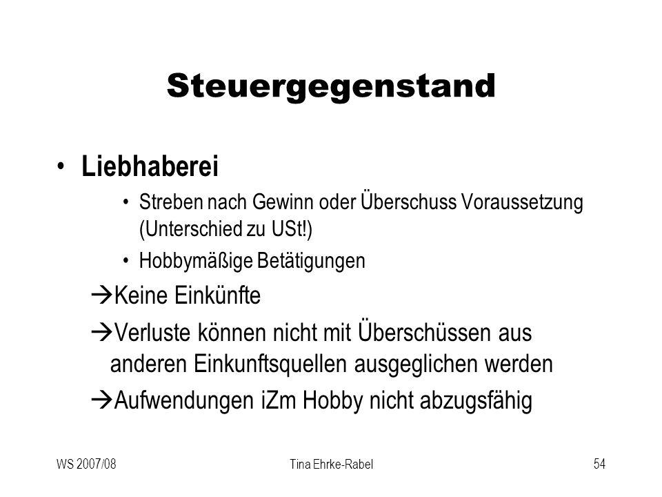 WS 2007/08Tina Ehrke-Rabel54 Steuergegenstand Liebhaberei Streben nach Gewinn oder Überschuss Voraussetzung (Unterschied zu USt!) Hobbymäßige Betätigu