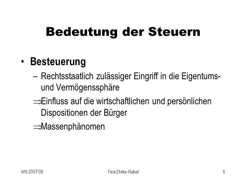 WS 2007/08Tina Ehrke-Rabel27 Finanzverfassung, Finanzausgleich Kompetenzverteilung –Art 13 B-VG verweist auf eigenes F-VG F-VG gilt nur für öffentliche Abgaben (Abgabenbegriff!) –Konkrete Verteilung der Besteuerungsrechte (Kompetenz-Kompetenz) regelt der einfache Bundesgesetzgeber durch FAG