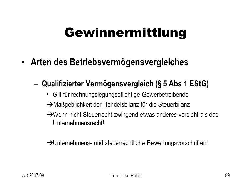 WS 2007/08Tina Ehrke-Rabel89 Gewinnermittlung Arten des Betriebsvermögensvergleiches – Qualifizierter Vermögensvergleich (§ 5 Abs 1 EStG) Gilt für rec