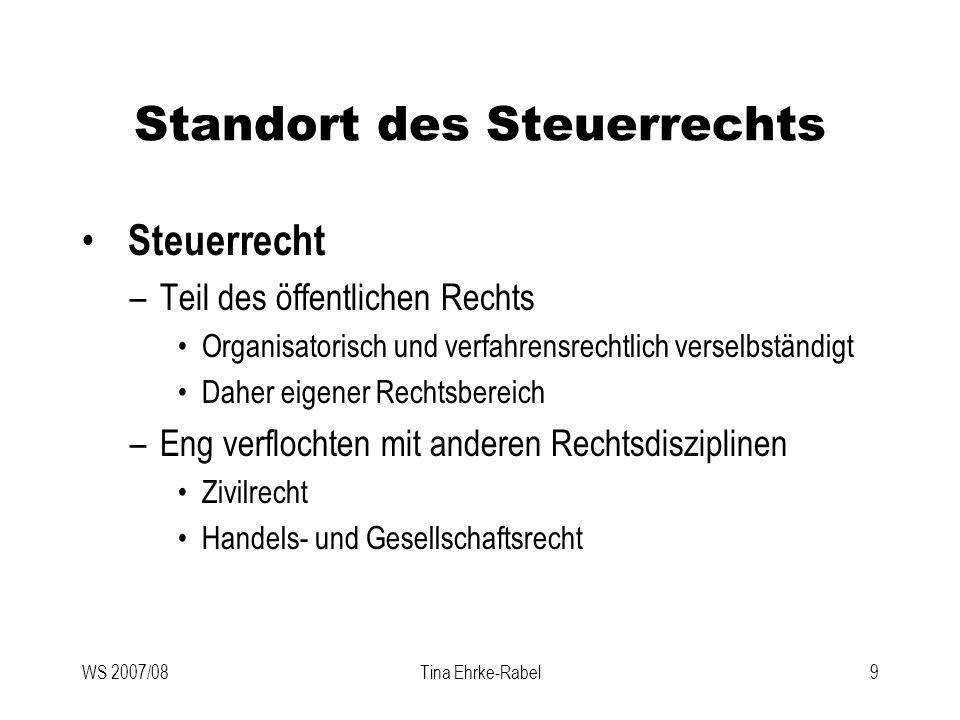 WS 2007/08Tina Ehrke-Rabel9 Standort des Steuerrechts Steuerrecht –Teil des öffentlichen Rechts Organisatorisch und verfahrensrechtlich verselbständig