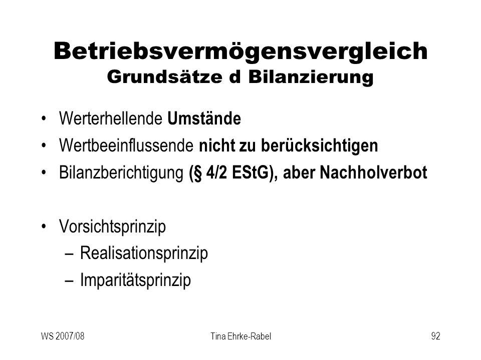 WS 2007/08Tina Ehrke-Rabel92 Betriebsvermögensvergleich Grundsätze d Bilanzierung Werterhellende Umstände Wertbeeinflussende nicht zu berücksichtigen