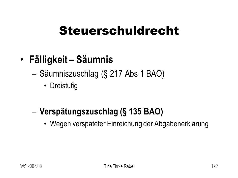 WS 2007/08Tina Ehrke-Rabel122 Steuerschuldrecht Fälligkeit – Säumnis –Säumniszuschlag (§ 217 Abs 1 BAO) Dreistufig – Verspätungszuschlag (§ 135 BAO) W