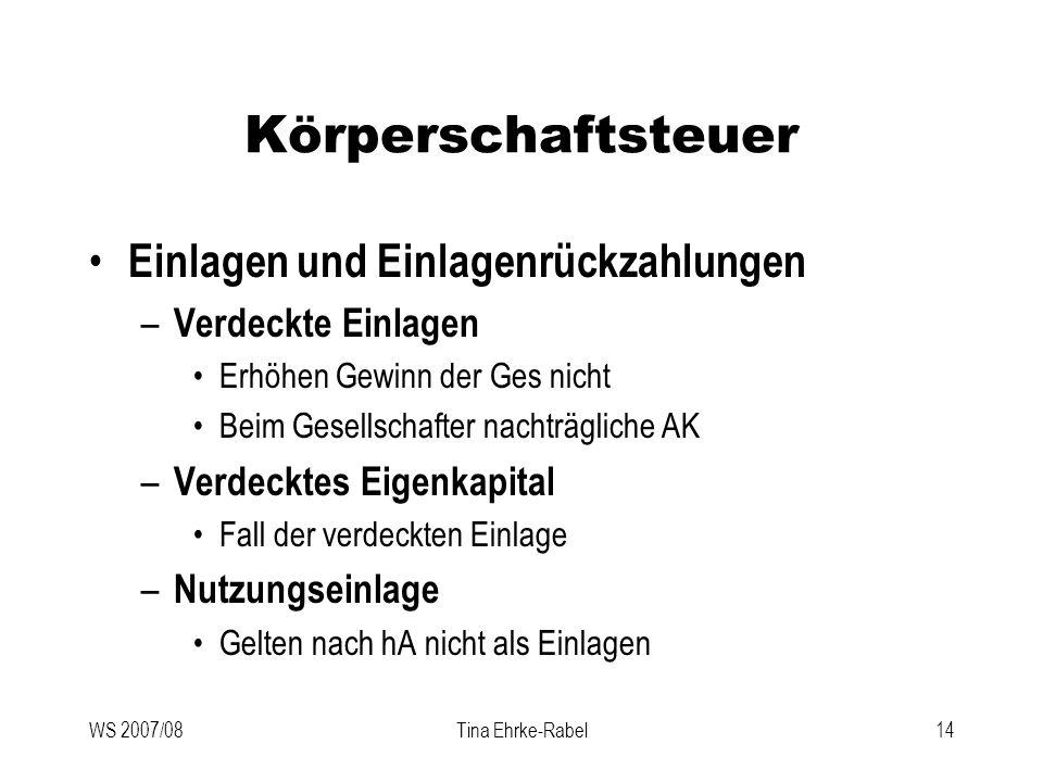 WS 2007/08Tina Ehrke-Rabel14 Körperschaftsteuer Einlagen und Einlagenrückzahlungen – Verdeckte Einlagen Erhöhen Gewinn der Ges nicht Beim Gesellschaft