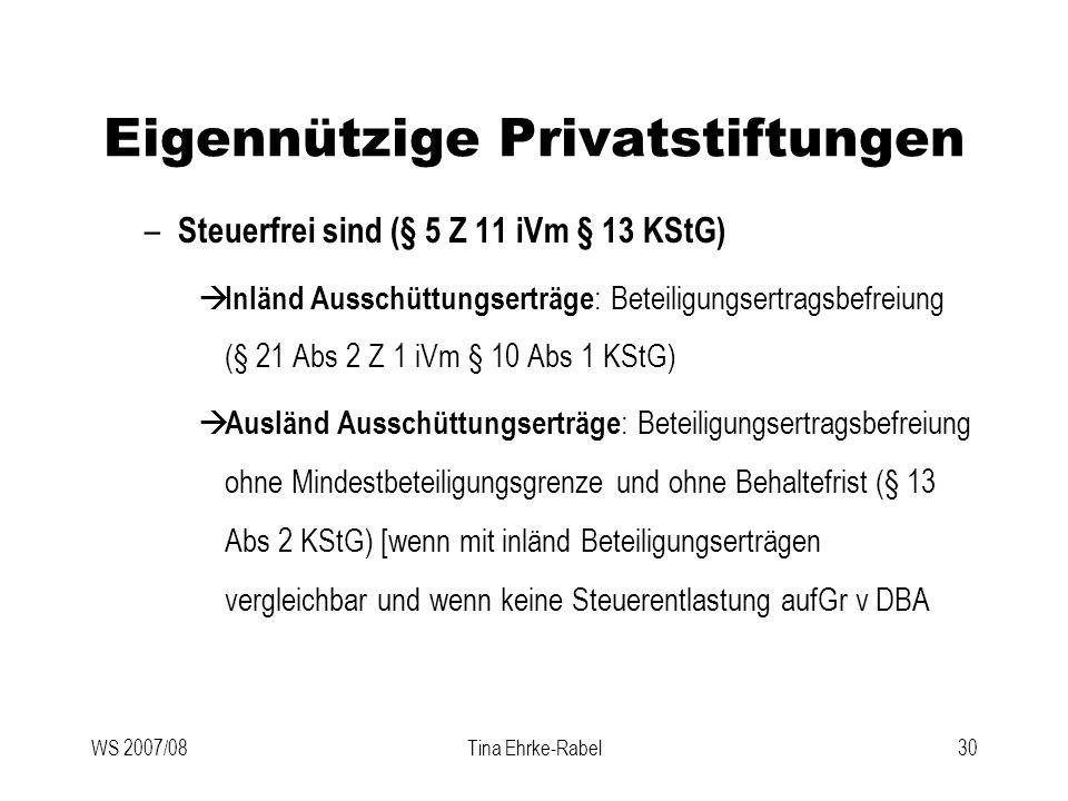 WS 2007/08Tina Ehrke-Rabel30 Eigennützige Privatstiftungen – Steuerfrei sind (§ 5 Z 11 iVm § 13 KStG) Inländ Ausschüttungserträge : Beteiligungsertrag