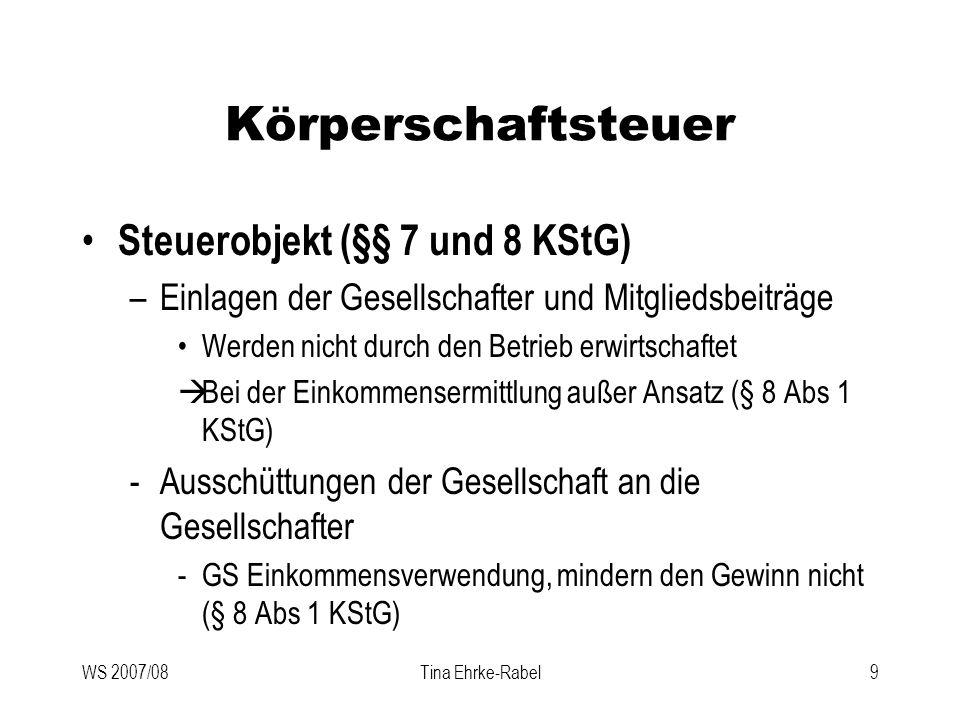 WS 2007/08Tina Ehrke-Rabel9 Körperschaftsteuer Steuerobjekt (§§ 7 und 8 KStG) –Einlagen der Gesellschafter und Mitgliedsbeiträge Werden nicht durch de
