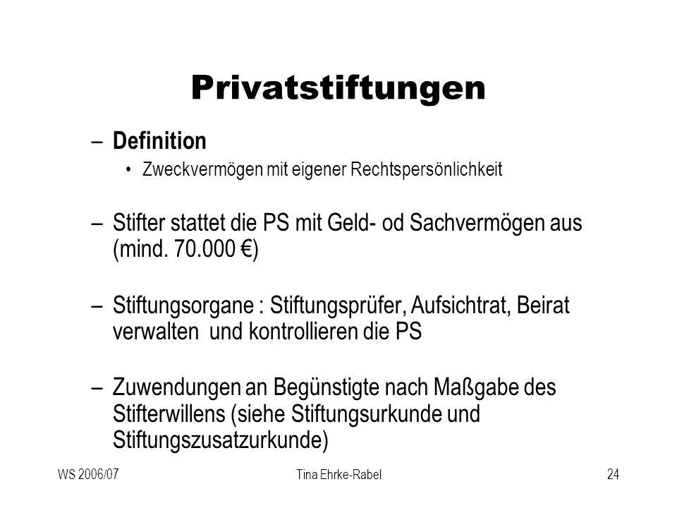 WS 2006/07Tina Ehrke-Rabel24 Privatstiftungen – Definition Zweckvermögen mit eigener Rechtspersönlichkeit –Stifter stattet die PS mit Geld- od Sachver