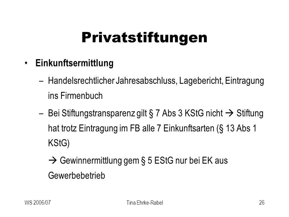 WS 2006/07Tina Ehrke-Rabel26 Privatstiftungen Einkunftsermittlung –Handelsrechtlicher Jahresabschluss, Lagebericht, Eintragung ins Firmenbuch –Bei Sti
