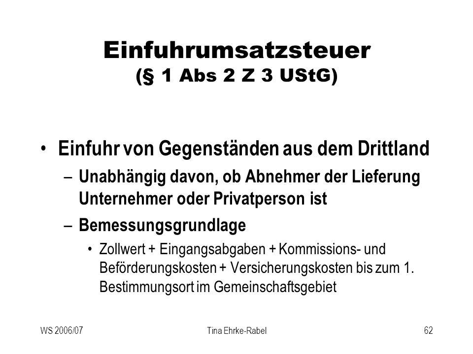 WS 2006/07Tina Ehrke-Rabel62 Einfuhrumsatzsteuer (§ 1 Abs 2 Z 3 UStG) Einfuhr von Gegenständen aus dem Drittland – Unabhängig davon, ob Abnehmer der L