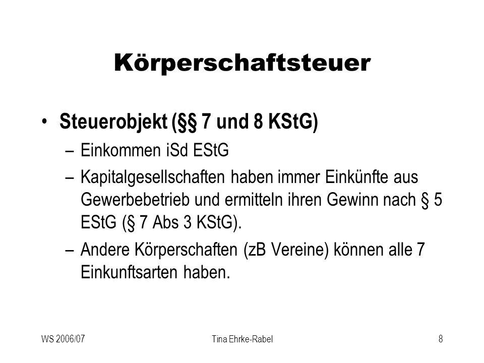 WS 2006/07Tina Ehrke-Rabel19 Körperschaftsteuer Gruppenbesteuerung (§ 9 KStG) –Gruppenträger Unbeschränkt steuerpflichtige KapGes, Genossenschaften, Versicherungsvereine, Kreditinstitute Zweigniederlassungen beschränkt steuerpflichtiger EU- Kapitalgesellschaften –Gruppenmitglieder Inländische KapGes oder Genossenschaften Vglbare ausländ Körperschaften, die ausschließlich mit unbeschr stpfl Gruppenmitgliedern od dem Gruppenträger finanziell verbunden sind.