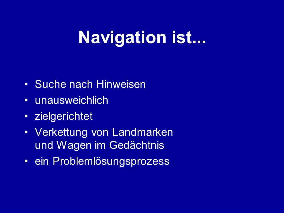 Navigation ist... Suche nach Hinweisen unausweichlich zielgerichtet Verkettung von Landmarken und Wagen im Gedächtnis ein Problemlösungsprozess