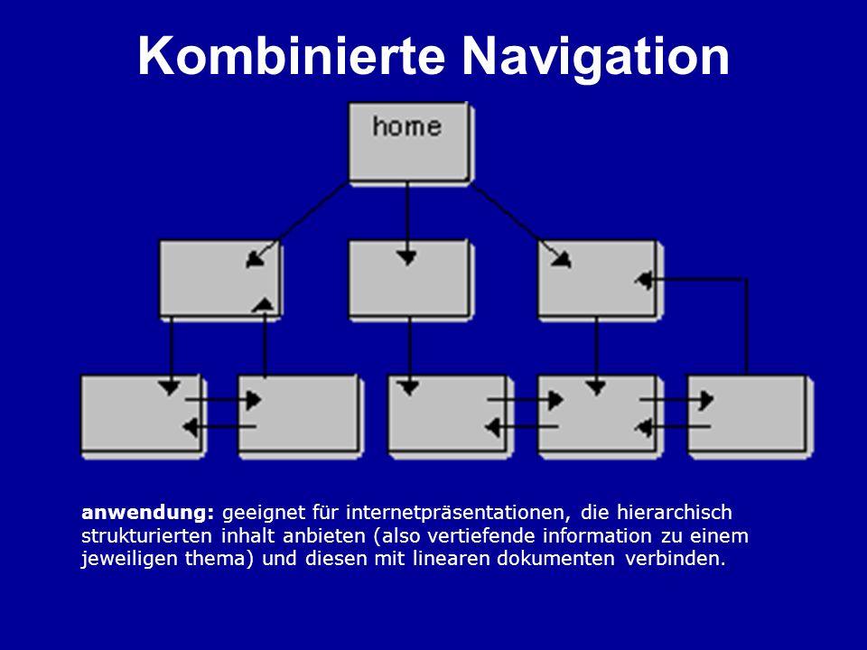 Kombinierte Navigation anwendung: geeignet für internetpräsentationen, die hierarchisch strukturierten inhalt anbieten (also vertiefende information z