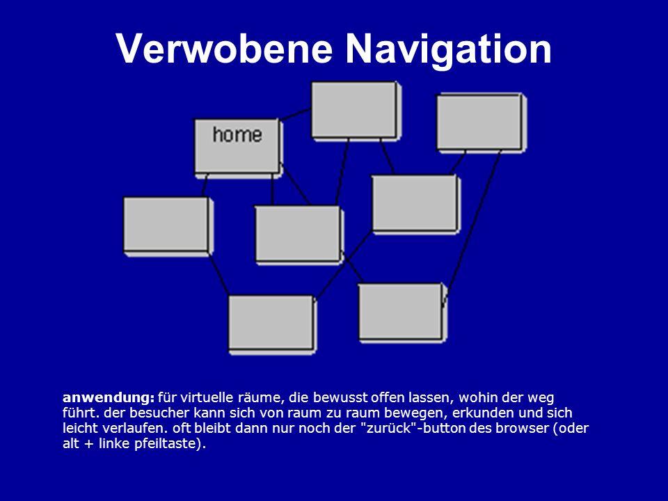 Navigationsleisten Position: –Üblicherweise am linken oder oberen Rand –Eventuell auch am unteren Rand –Möglicherweise Hauptrubriken-Navigationsleiste oben und Navigationsleiste für Unterrubriken links Aussehen: –Buttons, Links –Mehrere Ebenen in einer Leiste (2 in 1) –Trend (Spuren im Schnee)