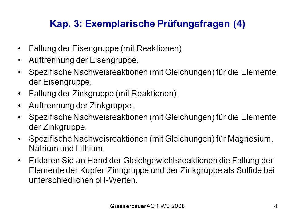 Grasserbauer AC 1 WS 20084 Kap. 3: Exemplarische Prüfungsfragen (4) Fällung der Eisengruppe (mit Reaktionen). Auftrennung der Eisengruppe. Spezifische