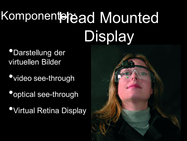 Head Mounted Display Darstellung der virtuellen Bilder video see-through optical see-through Virtual Retina Display Komponenten: