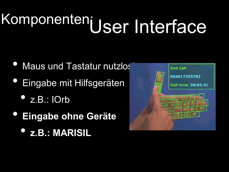 Maus und Tastatur nutzlos! Eingabe mit Hilfsgeräten z.B.: IOrb Eingabe ohne Geräte z.B.: MARISIL Komponenten: User Interface