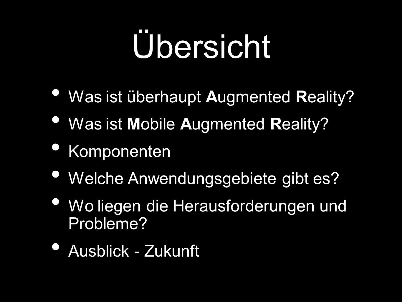 Vermischung zwischen realer und virtueller Realität Erweiterung der Realität durch: Computer Informationsquellen Visuelle Darstellung von Informationen Was ist überhaupt AR?