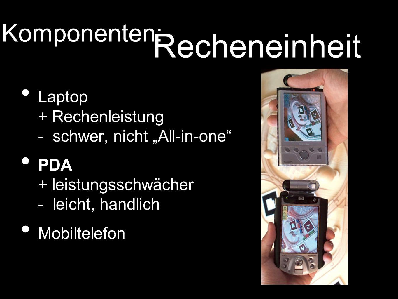 Laptop + Rechenleistung - schwer, nicht All-in-one PDA + leistungsschwächer - leicht, handlich Mobiltelefon Komponenten: Recheneinheit