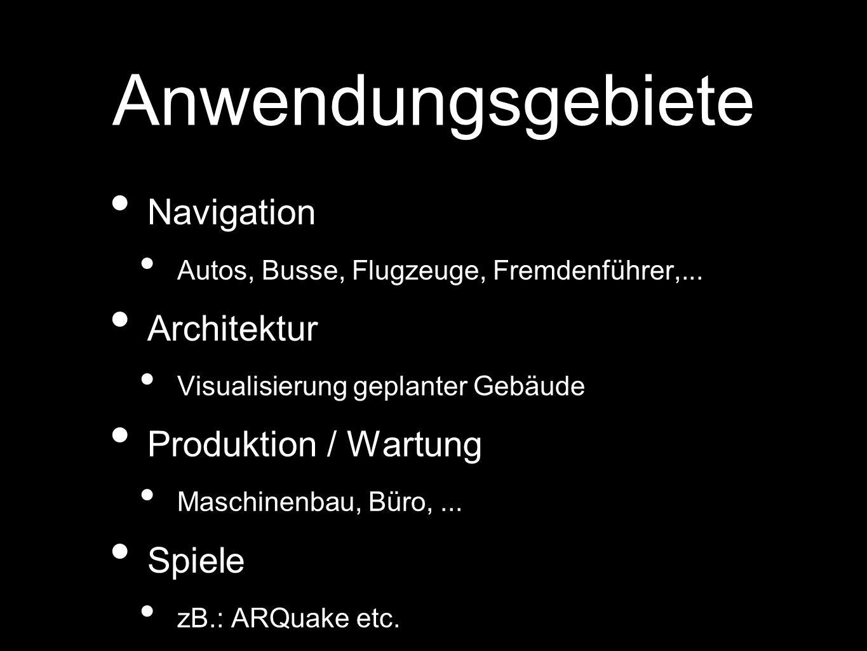 Anwendungsgebiete Navigation Autos, Busse, Flugzeuge, Fremdenführer,... Architektur Visualisierung geplanter Gebäude Produktion / Wartung Maschinenbau
