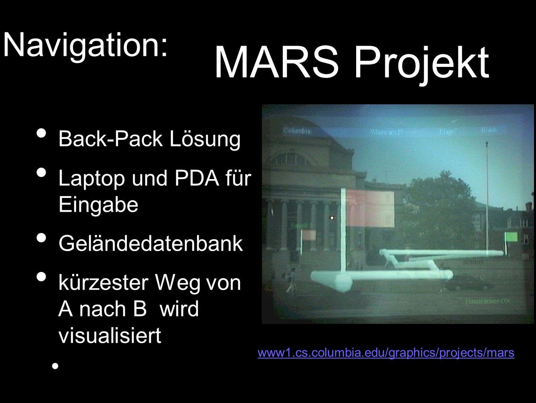 Back-Pack Lösung Laptop und PDA für Eingabe Geländedatenbank kürzester Weg von A nach B wird visualisiert www1.cs.columbia.edu/graphics/projects/mars