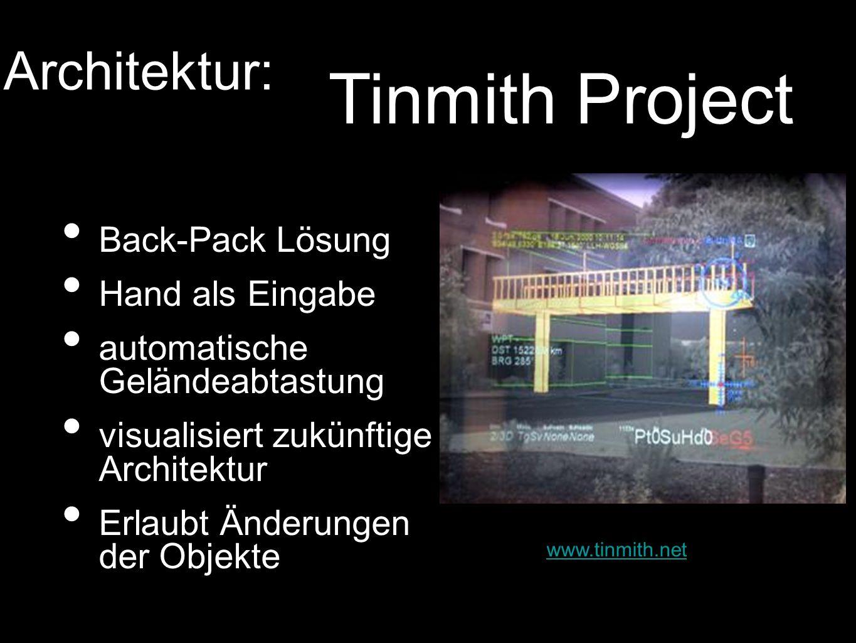 Back-Pack Lösung Hand als Eingabe automatische Geländeabtastung visualisiert zukünftige Architektur Erlaubt Änderungen der Objekte www.tinmith.net Arc