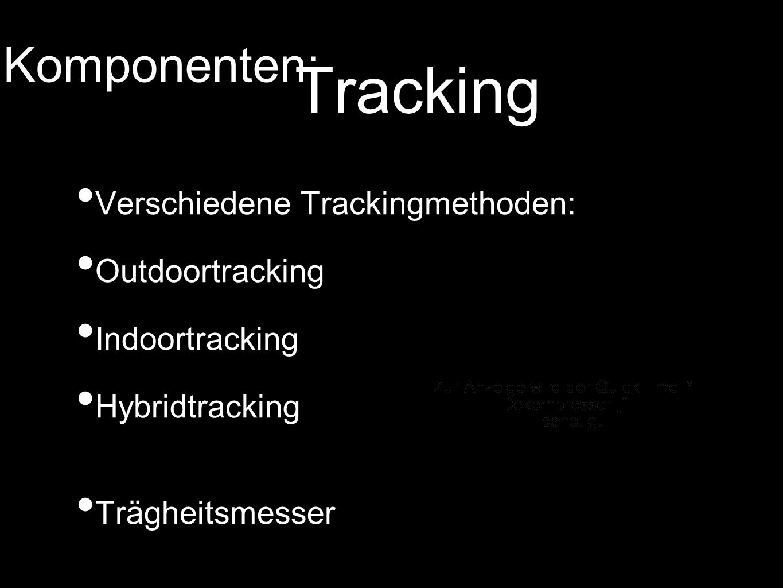 Tracking Verschiedene Trackingmethoden: Outdoortracking Indoortracking Hybridtracking Trägheitsmesser Komponenten: