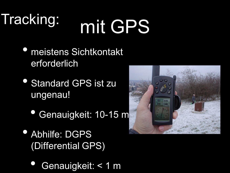 mit GPS meistens Sichtkontakt erforderlich Standard GPS ist zu ungenau! Genauigkeit: 10-15 m Abhilfe: DGPS (Differential GPS) Genauigkeit: < 1 m Track