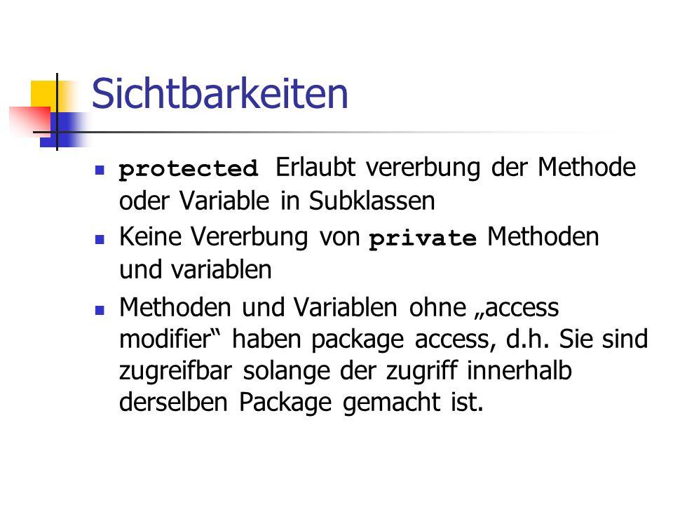 Sichtbarkeiten protected Erlaubt vererbung der Methode oder Variable in Subklassen Keine Vererbung von private Methoden und variablen Methoden und Var