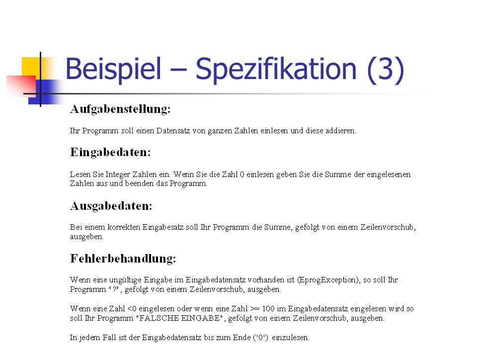 Beispiel – Spezifikation (3)