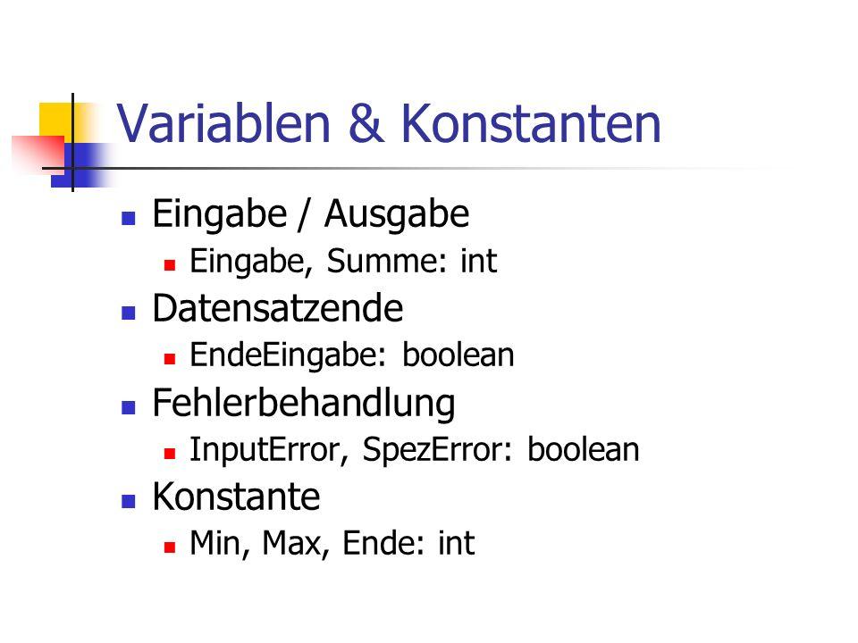 Variablen & Konstanten Eingabe / Ausgabe Eingabe, Summe: int Datensatzende EndeEingabe: boolean Fehlerbehandlung InputError, SpezError: boolean Konsta