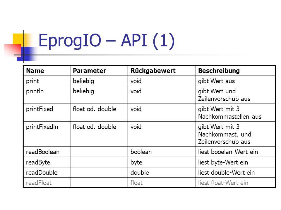 EprogIO – API (1) NameParameterRückgabewertBeschreibung printbeliebigvoidgibt Wert aus printlnbeliebigvoidgibt Wert und Zeilenvorschub aus printFixedf