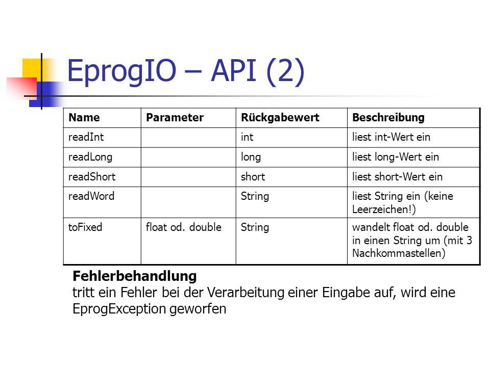 EprogIO – API (2) NameParameterRückgabewertBeschreibung readIntintliest int-Wert ein readLonglongliest long-Wert ein readShortshortliest short-Wert ei