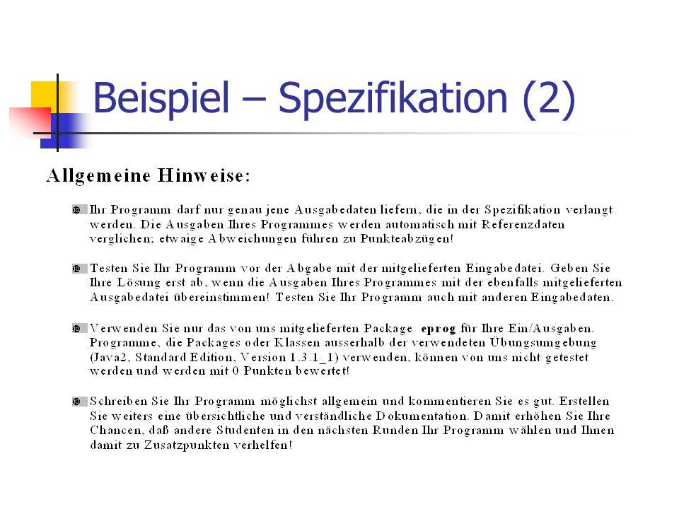 Beispiel – Spezifikation (2)
