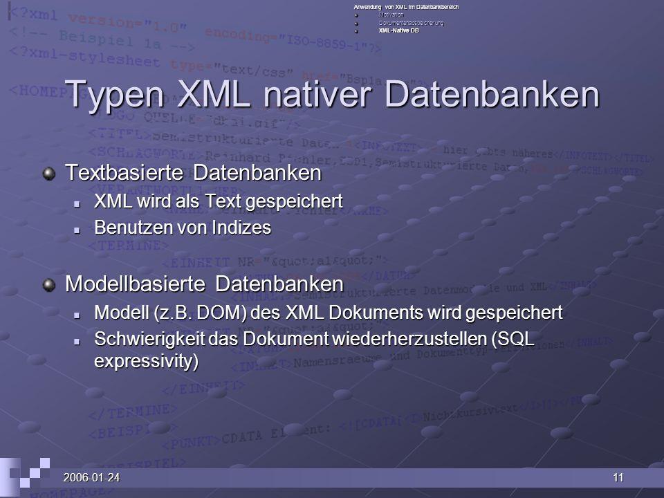 2006-01-2411 Typen XML nativer Datenbanken Textbasierte Datenbanken XML wird als Text gespeichert XML wird als Text gespeichert Benutzen von Indizes Benutzen von Indizes Modellbasierte Datenbanken Modell (z.B.