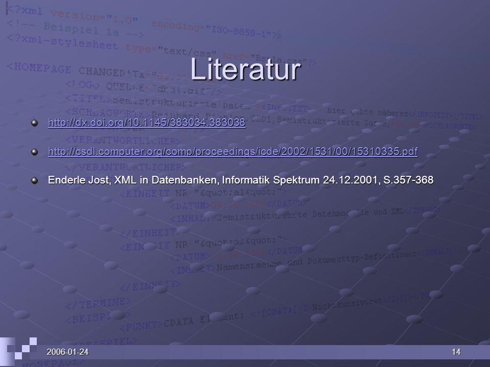 2006-01-2414 Literatur http://dx.doi.org/10.1145/383034.383038 http://csdl.computer.org/comp/proceedings/icde/2002/1531/00/15310335.pdf Enderle Jost,