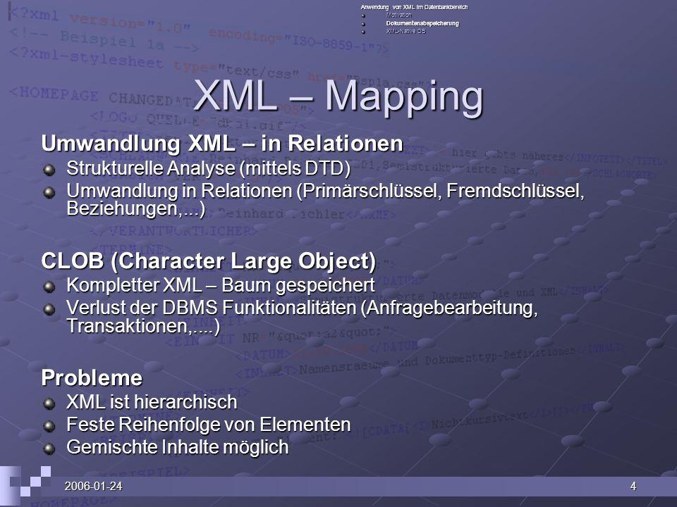 2006-01-244 XML – Mapping Umwandlung XML – in Relationen Strukturelle Analyse (mittels DTD) Umwandlung in Relationen (Primärschlüssel, Fremdschlüssel,